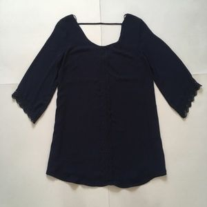 ASTR | Navy Tunic Top Lace Detail Trim Back Strap